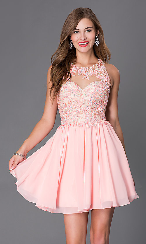 PromGirl Short Beaded Lace Dress