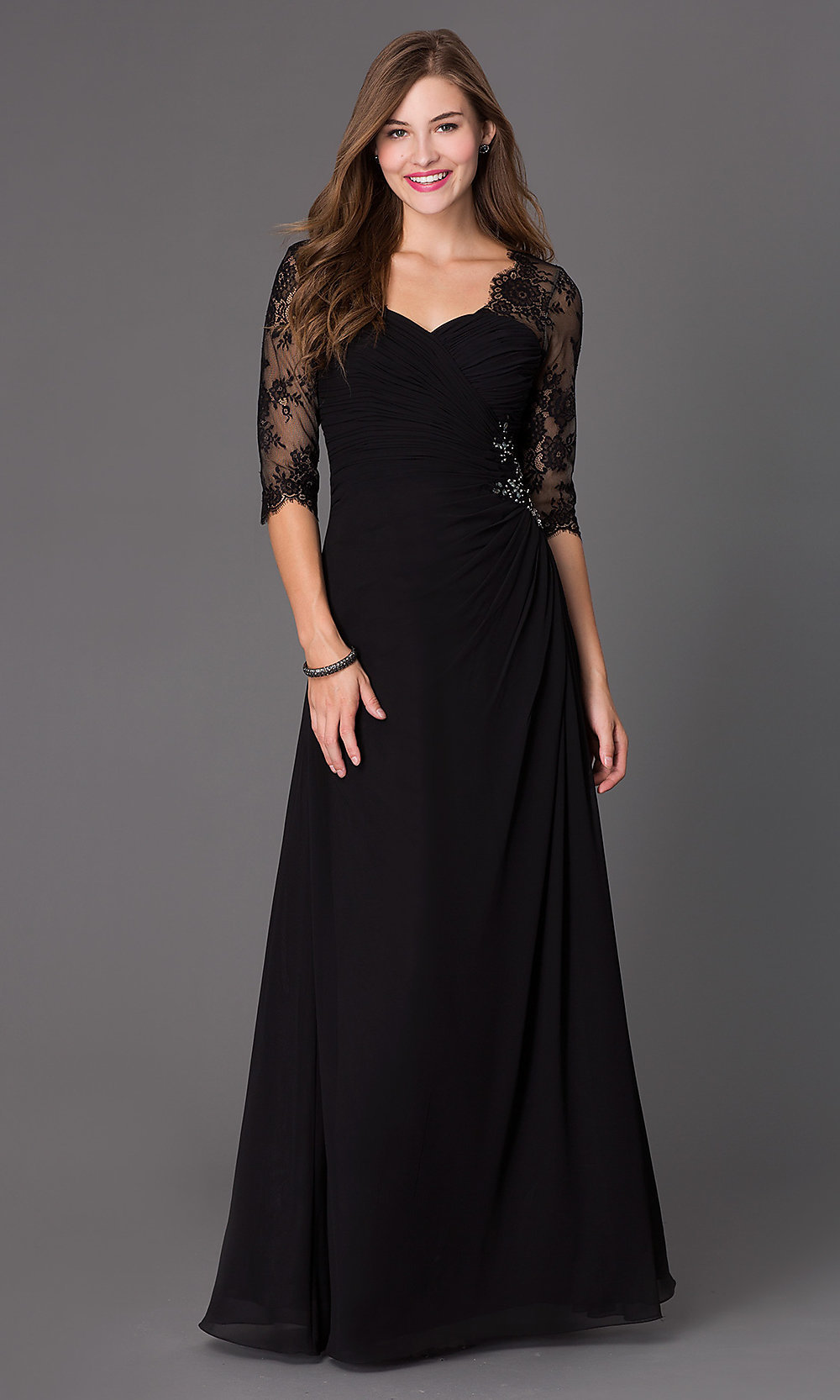 Floor Length Ruched Dress 7210 With Lace 3 4 Length
