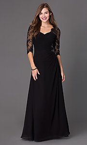 Floor Length Ruched Dress 7210 with Lace 3/4 Length Sleeves
