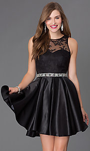 Image of short sleeveless fit-and-flare formal prom dress Style: PO-7214 Front Image