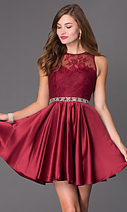 Sleeveless Fit and Flare Dress with Lace Embellished Bodice