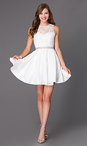 Image of short sleeveless fit-and-flare formal prom dress Style: PO-7214 Detail Image 2