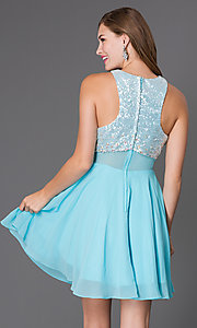 Image of short sleeveless dress with sequin bodice Style: PO-7234 Back Image