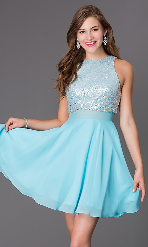 Image of short sleeveless dress with sequin bodice Style: PO-7234 Front Image