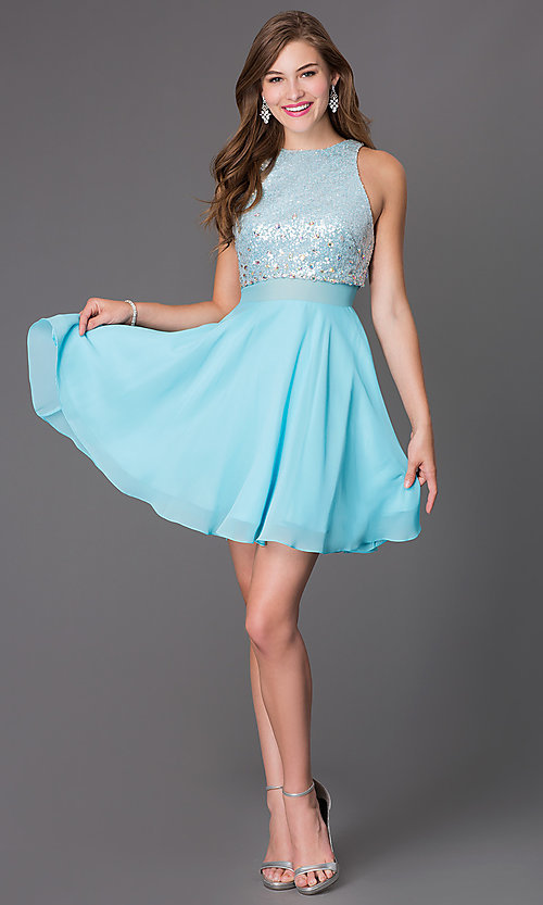 Image of short sleeveless dress with sequin bodice Style: PO-7234 Detail Image 1