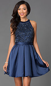 Image of short sleeveless high neck embellished bodice fit and flare dress Style: PO-7242 Front Image