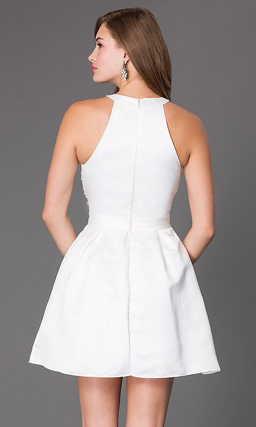 Image of short sleeveless high neck embellished bodice fit and flare dress Style: PO-7242 Back Image