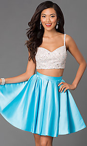 Two Piece Sleeveless Dress 7254 with Sequin Bodice