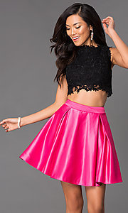 Short Two Piece Lace Bodice Dress