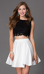 Image of short a-line two piece sleeveless lace bodice dress Style: PO-7300 Detail Image 1