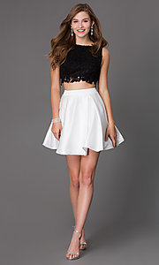 Image of short a-line two piece sleeveless lace bodice dress Style: PO-7300 Detail Image 2