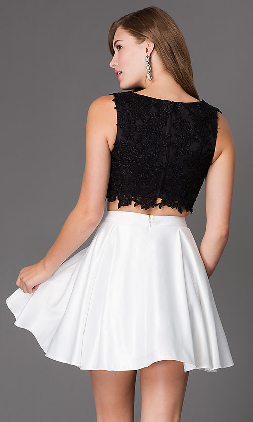 Image of short a-line two piece sleeveless lace bodice dress Style: PO-7300 Back Image