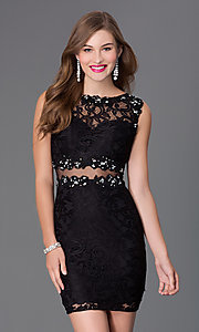 Image of Sheer Lace Cocktail Dress Style: DQ-9099 Front Image