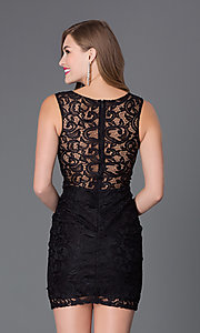 Image of Sheer Lace Cocktail Dress Style: DQ-9099 Back Image