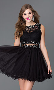 Image of Embroidered Babydoll Homecoming Dress Style: DQ-9080 Front Image