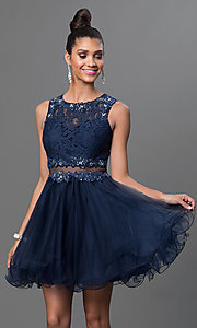 Image of Embroidered Babydoll Homecoming Dress Style: DQ-9080 Detail Image 4