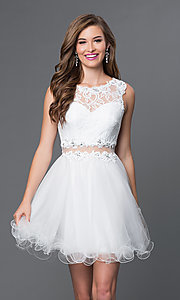 Image of Embroidered Babydoll Homecoming Dress Style: DQ-9080 Detail Image 2