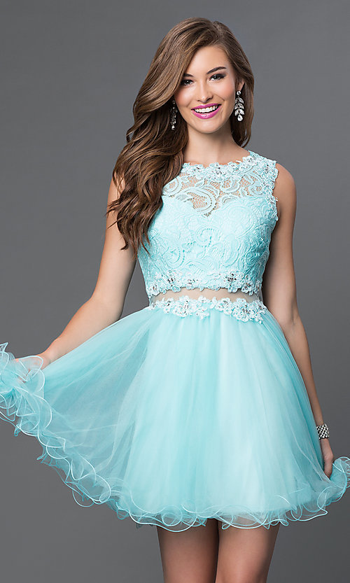 Image of Embroidered Babydoll Homecoming Dress Style: DQ-9080 Detail Image 3
