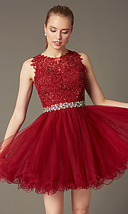 Image of short sleeveless tulle skirt lace top beaded waistband dress  Style: DQ-9159 Front Image