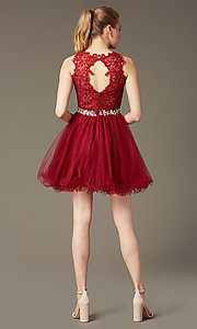 Image of short sleeveless tulle skirt lace top beaded waistband dress  Style: DQ-9159 Back Image