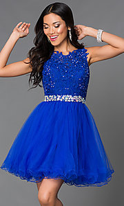 Short Tulle Lace Top  Prom Dress