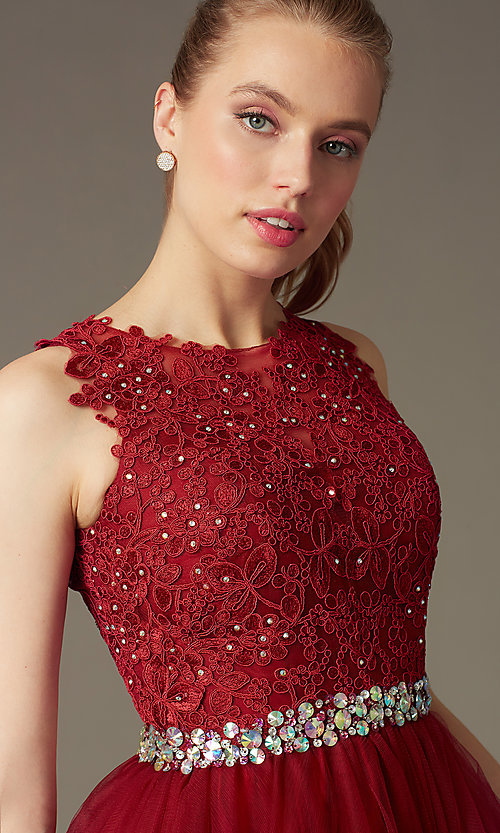 Image of short sleeveless tulle skirt lace top beaded waistband dress  Style: DQ-9159 Detail Image 1