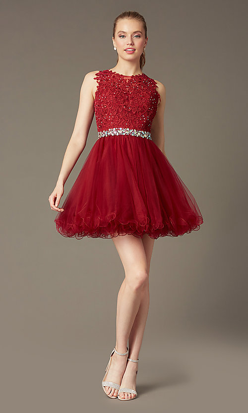 Image of short sleeveless tulle skirt lace top beaded waistband dress  Style: DQ-9159 Detail Image 2