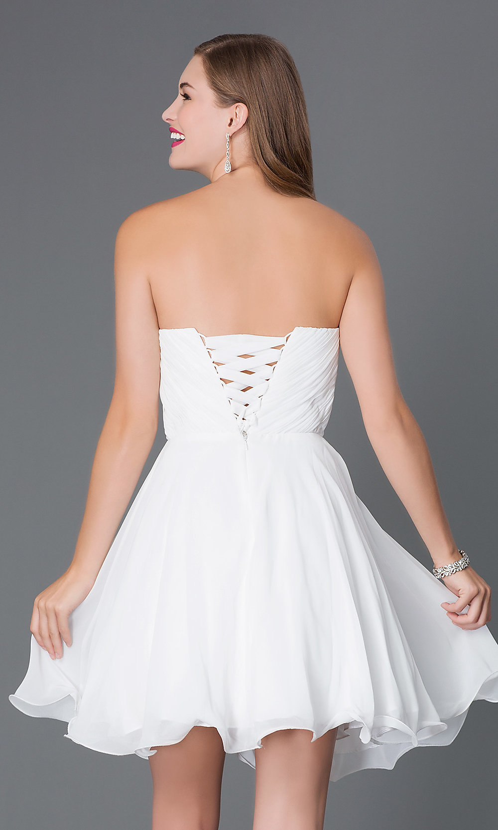 Short Formal Chiffon Corset Dress - PromGirl