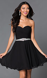 Image of short A-line strapless jewel embellished belt sweetheart dress Style: DQ-9115 Front Image
