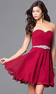 Image of short A-line strapless jewel embellished belt sweetheart dress Style: DQ-9115 Detail Image 3