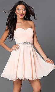 Image of short A-line strapless jewel embellished belt sweetheart dress Style: DQ-9115 Detail Image 1