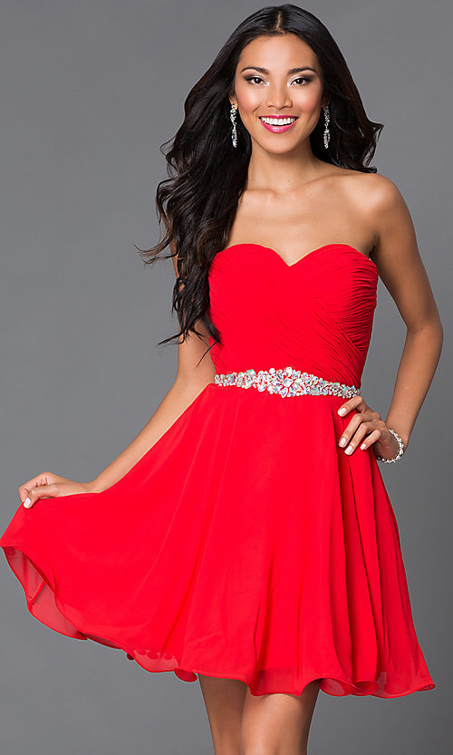 Image of short A-line strapless jewel embellished belt sweetheart dress Style: DQ-9115 Detail Image 2