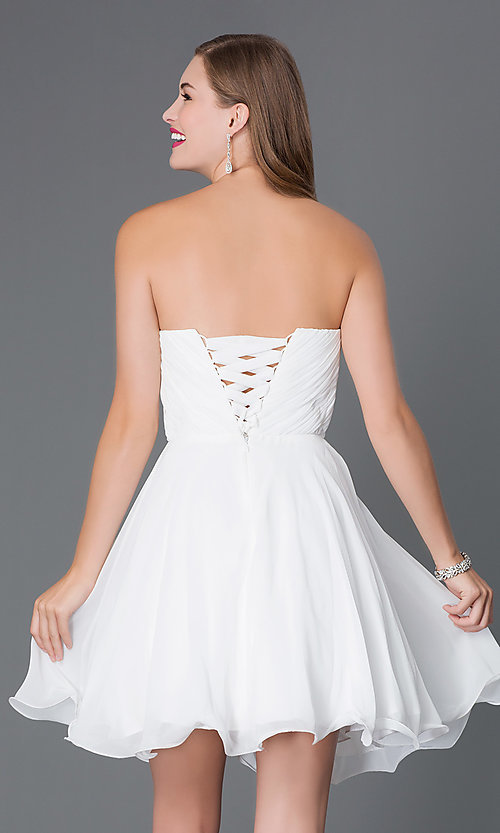 Image of short A-line strapless jewel embellished belt sweetheart dress Style: DQ-9115 Back Image