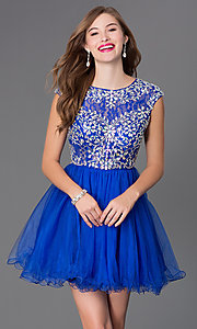 Image of short tulle skirt beaded bodice cap sleeve baby doll dress  Style: DQ-9149 Detail Image 1