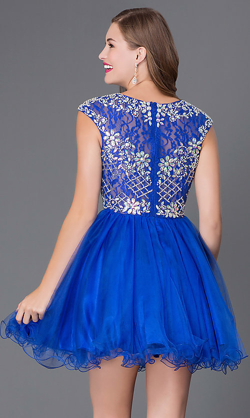 Image of short tulle skirt beaded bodice cap sleeve baby doll dress  Style: DQ-9149 Back Image