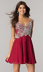 Image of short a-line sleeveless jewel embellished bodice dress Style: DQ-9160 Detail Image 3