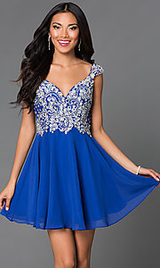 Short Sleeveless Jewel Embellished Bodice Dress