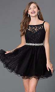 Image of short lace-bodice babydoll homecoming dress. Style: DQ-9139 Front Image