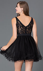 Image of short lace-bodice babydoll homecoming dress. Style: DQ-9139 Back Image