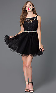 Image of short lace-bodice babydoll homecoming dress. Style: DQ-9139 Detail Image 1