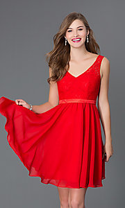 Short Red V-Neck Homecoming Dress 9064
