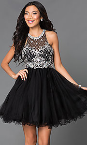 Image of sleeveless jeweled-bodice short homecoming dress. Style: DQ-9158 Front Image
