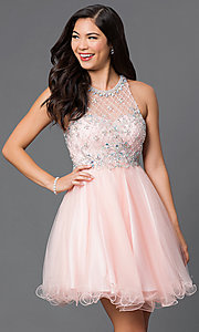 Image of sleeveless jeweled-bodice short homecoming dress. Style: DQ-9158 Detail Image 3