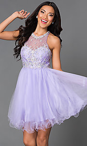 Image of sleeveless jeweled-bodice short homecoming dress. Style: DQ-9158 Detail Image 2