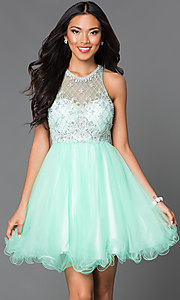 Image of sleeveless jeweled-bodice short homecoming dress. Style: DQ-9158 Detail Image 1