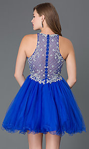 Image of sleeveless jeweled-bodice short homecoming dress. Style: DQ-9158 Back Image