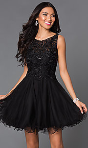 Short Baby Doll Prom Dress with Embroidered Bodice
