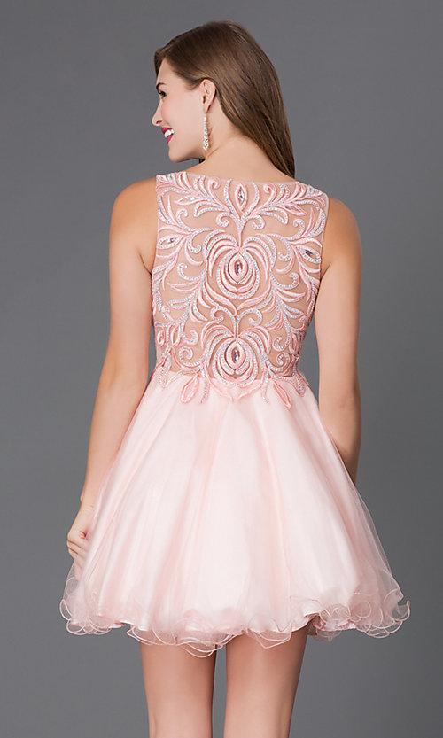 Image of short sleeveless baby doll embroidered beaded bodice dress Style: DQ-9169 Back Image