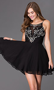Elizabeth K Short Beaded Illusion Bodice Dress