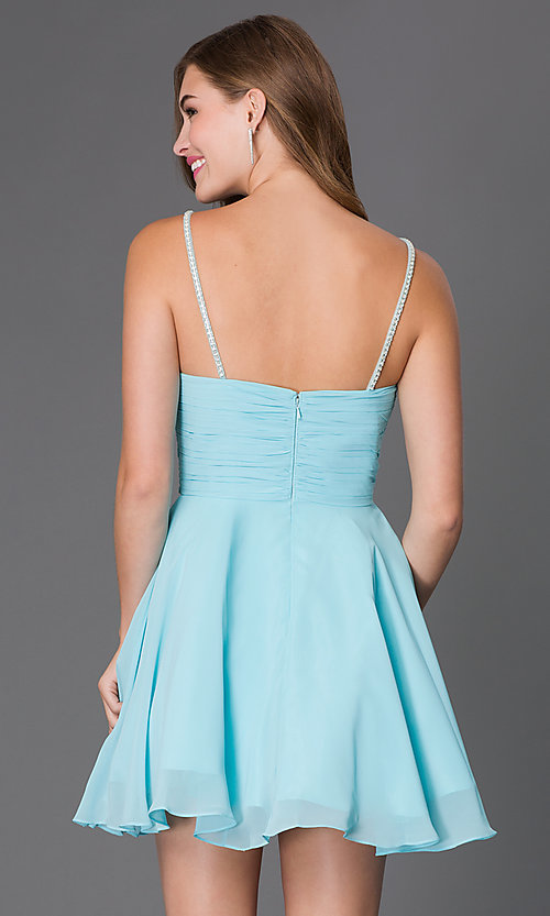 Image of short a-line beaded illusion bodice sleeveless dress  Style: FB-GS2026 Back Image